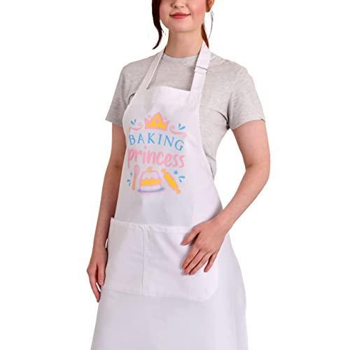 Elbenwald Baking Princess - Delantal, diseño de princesas Disney, color blanco