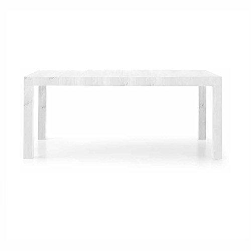 InHouse srls Table Blanc comportant 2 rallonges DE 50 cm, Style Moderne, en MDF laminé - Dim. 160 x 90 x 77