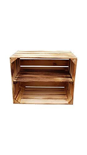 Massive Holzkisten als Schuhregal / Bücherregal LEICHT GEFLAMMT mit Zwischenbrett (verschraubt) Apfelkisten Obstkisten Weinkisten aus dem alten Land Kisten-Regal flambiert Vintage Deko (1er Längs)