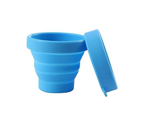 nalmatoionme 170ml Silikon Faltbare Mug klappbar Wasser Cup mit Deckel für Camping Reise (blau)