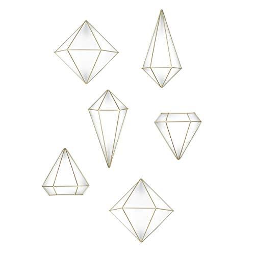 Umbra Prisma Geometrische Wanddekoration – Deko zum Aufhängen an Wand und Decke oder als Tischdekoration Verwendbar, Set mit 6 Prisma Hälften, Metall / Mattgold