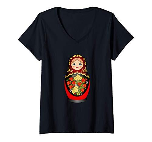 Donna Bella matrioska russa Matryoshka Nesting Doll bella Maglietta con Collo a V