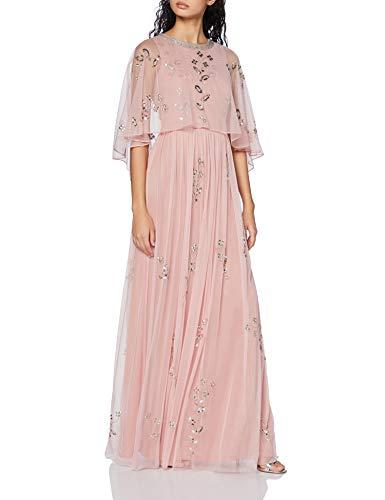 Frock and Frill Irma Cape Top Minimal Embellished Maxi Dress Vestito da Sera Donna, Rosa (Rose Pink #FFB6C1), 42 (Taglia Unica: 10)