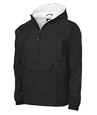 Charles River Apparel Wind & Water-Resistant Pullover Rain Jacket (Reg/Ext Sizes), Black, M