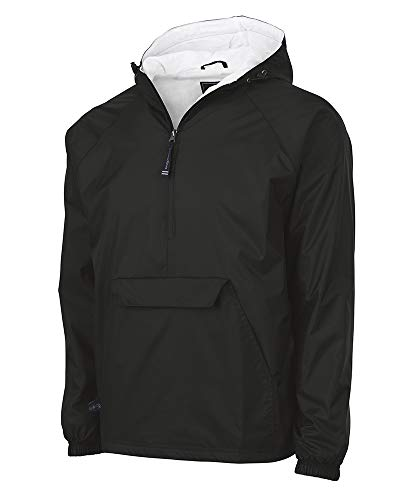 Charles River Apparel Wind & Water-Resistant Pullover Rain Jacket (Reg/Ext Sizes), Black, XXL