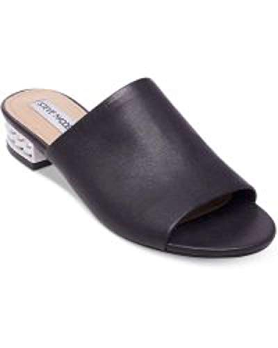 Steve Madden Womens Briele-P Open Toe Casual Slide, Black Leather, Size 5.5