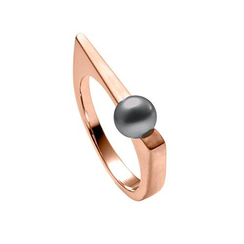 Heideman Ring Damen aus Edelstahl Rosegold farbend matt Damenring für Frauen mit Swarovski Perle grau rund 6mm