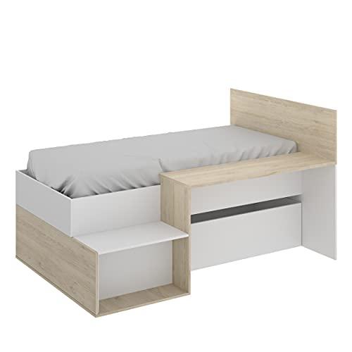 Cama Juvenil de diseño Moderno MAK Tablero de partículas melaminizado 194x135x110 cm (Blanco/Natural)