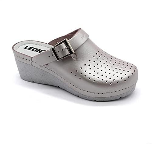LEON 1000 Zuecos Mules Zapatillas Zapatos de Cuero, Mujer, Perla, EU 36