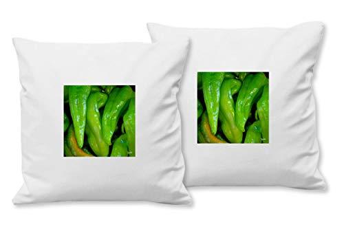 Glücksvilla - Juego de 2 cojines con foto de artista (40 x 40 cm, 4 unidades), diseño de verduras