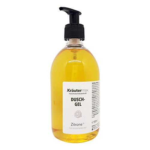 Gel douche au citron pour la peau et les cheveux également sous forme de savon liquide à l'huile d'olive 1 x 500 ml