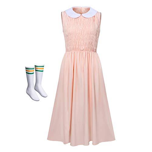 NUWIND - Disfraz de Stranger Eleven para Mujer Falda Rosa Sin Mangas con Calcetínes Vestido Drama para Cosplay Halloween Adultos (XXL)
