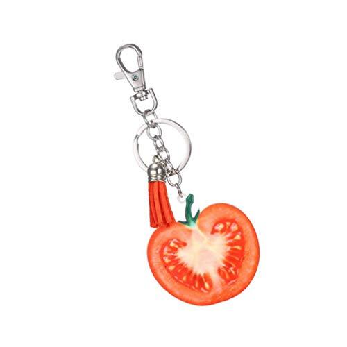 N-brand Pulabo - Llavero para bolso de mano, diseño de fruta, color tomate fuerte y duradero