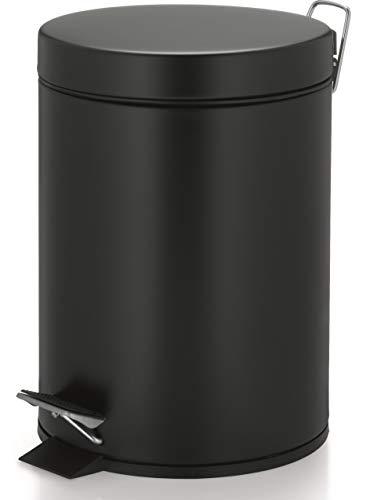 kela 22352 Poubelle cosmétique Aaron 5L en Métal Noir, 20,5 x 20,5 x 28 cm