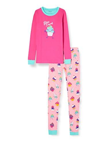 Hatley Mädchen Organic Cotton Long Sleeve Appliqué Pyjama Sets Zweiteiliger Schlafanzug, Pink (Dancing Cupcakes 650), 8 Jahre