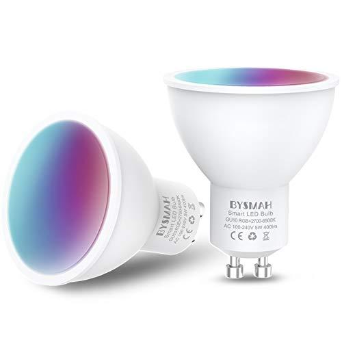 Lampadina Smart GU10, 5W 400LM, BYSMAH Faretti LED Lampadine WiFi, Dimmerabili bianco e RGBCW, Compatibile con Alexa/Google Home, Sincronizzazione con Musica (2 Pezzi)