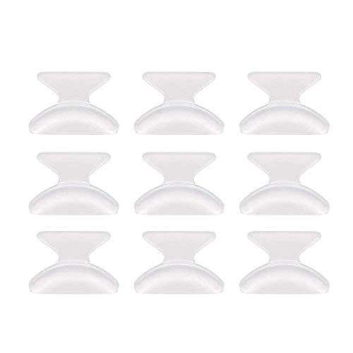 JZZJ 10 Pares de Almohadilla de Nariz de Gafas de 1,8 mm Antideslizante Adhesiva Silicona para Anteojos de Sol Gafas (Transparente)