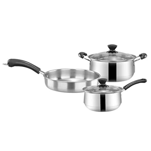 SHUISHUI 3 unids/set de utensilios de cocina de acero inoxidable, sartén de fondo plano, olla de sopa, olla de leche, olla de inducción, sartén para cocinar para el hogar (Color : A)