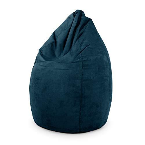 Green Bean © Drop Sitzsack 60x60x90 cm - 220L - Indoor - Sitzhöhe 50 cm, Rückenlehne 40 cm - waschbar, schmutzabweisend - für Kinder, Jugendliche, Erwachsene - Wildleder Optik - Dunkelblau