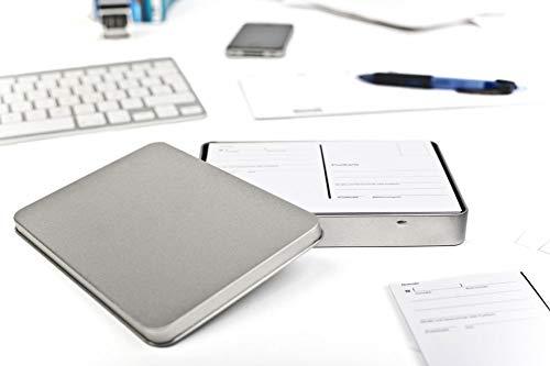Blechdose mit Deckel, Metall Dose 16,2 x 12 x 2 cm groß, eckig, leer, Silber, rechteckige Aufbewahrungsbox DIN A6 Vorratsdose für Allerlei