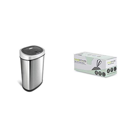 NINESTARS DZT-50-9 Automatic Touchless Infrared Motion Sensor Trash Can, 13 Gal 50L (Oval, Silver/Black Lid) & NSTB-13-30 Extra Strong White Trash Bag w/Drawstring Closure, 13 Gal. / 49 L., 30 Count