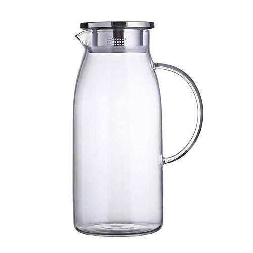 HJYSQX Jarra de Agua de 1.5 L/L, Hervidor de Vidrio, Jarra con Tapa, Jarra de Agua para Agua fría y Caliente, Botella de Agua fría Lado antifugas con Tapa (Olla Individual, sin Taza)