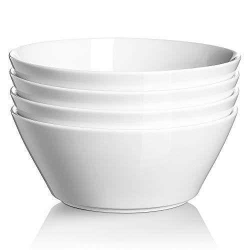DOWAN Soup Bowls Set of 4, 32 Oz Large Porcelain Cereal Bowls, Cone Shape Small Salad Bowls, Portion Bowls for Ramen, Dishwasher & Microwave Safe, White
