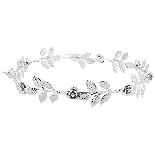 Lux Accessories Silver Tone and Rhinestone Leaf Leaves Metal Flower Crown