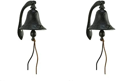 """discount CTW popular Home Collection Cast Iron Logan Dinner Bell with Bracket Dinner Bell - Feel The online sale Vibe of Traditional Family Meals and Gatherings. Made of Heavy Cast Iron - Measures 4"""" W X 5½""""D X 6"""" T (2) outlet sale"""