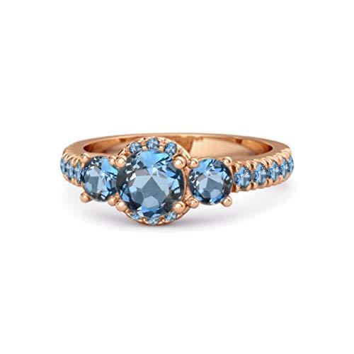 Shine Jewel Multi Elija su Piedra Preciosa Tres Piedras 0.92 CTS Anillo de Acentos Chapado en Oro Rosa de Plata de Ley 925 (14, topacio Azul Londres)