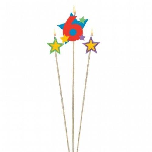 Unbekannt 3 velas de cumpleaños con estrellas del número 6.