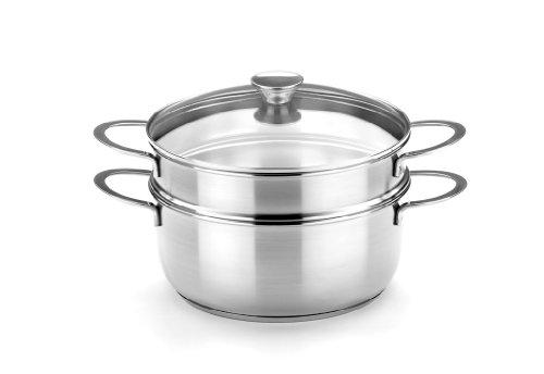 BRA Ancora - Set para cocinar al Vapor, 24 cm, Acero Inoxidable 18/10, con Tapa de Cristal