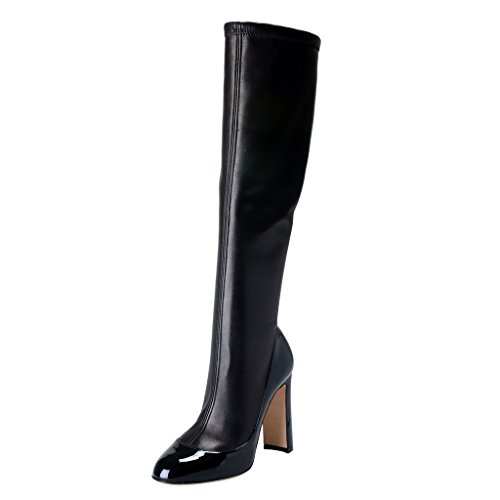 Dolce & Gabbana Women's Black Leather High Heel Boots Shoes US 6 IT 36;