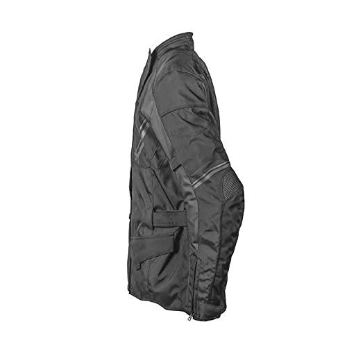 GERMAS gms Taylor Herren Motorradjacke mit Protektoren - Textil, wasserdicht, winddicht, atmungsaktiv, AirVent-System 2 Außentaschen, Taillengurt, Armweitenregulierung, Farbe:schwarz, Größe:3XL