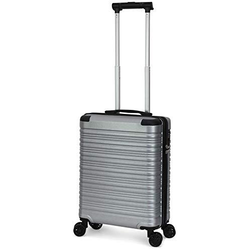ORMI valigia trolley bagaglio a mano 55x40x20 in abs 8 ruote con lucchetto TSA (Argento)