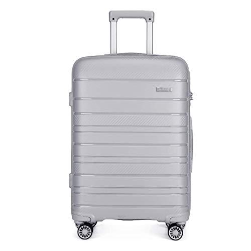 Kono Lightweight Polypropylene 55cm Cabin Suitcase TSA Lock 20' Carry On Hand Luggage with 4 Spinner Wheels 40L (Grey)