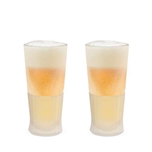 Host Freeze Beer Freezer Gel Chiller Double Wall Frozen Pint, Set of 2, 16 oz, White Glass 2-Pack