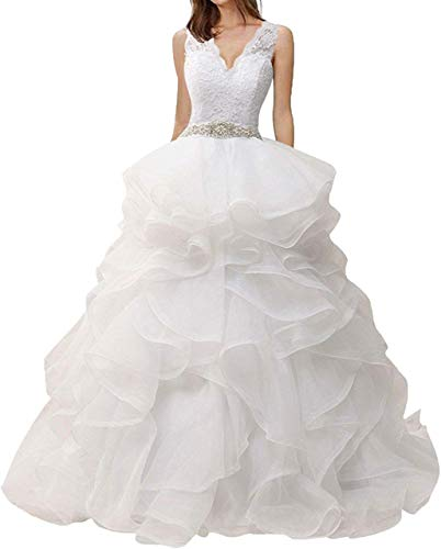 Meganbridal Plus Size A line V Neck Ruffles Wedding Dress for Women Bride Lace Brial Ball Gowns with Beaded Belt Long White