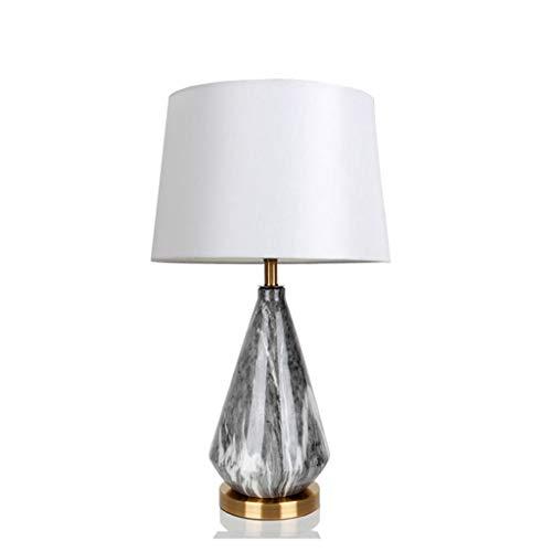 Lámpara de escritorio para sala de oficina Lámpara de escritorio de escritorio de mármol simple y moderna, lámpara de escritorio de cerámica de mármol, tela hecha a mano de tela blanca, lámpara, apto