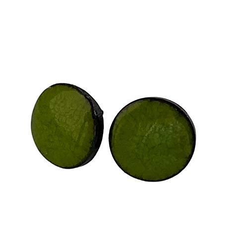 Unique Handmade Ceramic Stud Earrings for Women; Small Green Circles; Cute Jewellery Accessories; Gift for Her Mum Sister Girls Friends