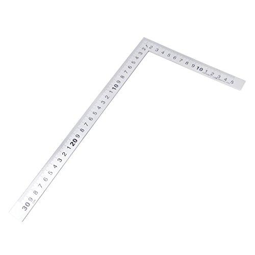 PINGAcero inoxidable 15x30cm Ángulo de 90 grados Métrica Pruebe la escala de regla cuadrada de inglete