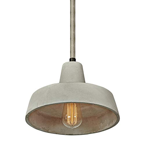 MOTINI 1-Light Concrete Pendant Light with Cement Shade in Grey Finish Ceiling-Pendant-Fixtures Light Retro Industrial Style (UL Listed)