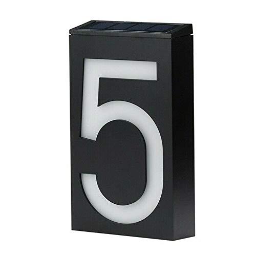 Z-Y huisnummers deur nummerplaten Huisnummer deuradres Plate # 0-9 LED op zonne-energie Wandlamp hekje licht automatisch aan/uit-schakelaar for Hotel Apartment #z (Color : 5, Size : 18.3x10.4cm)