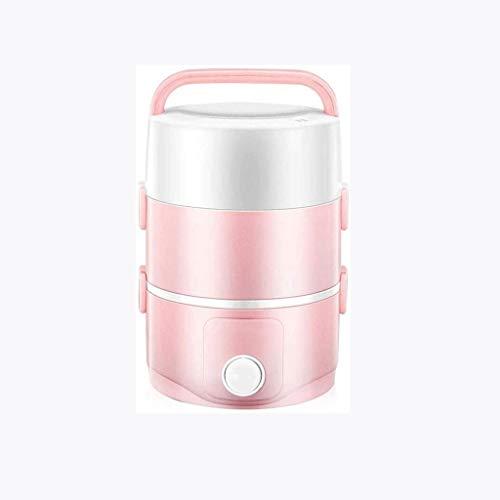 YUTRD ZCJUX Rosa Aislado Caja de Almuerzo - Acero Inoxidable Caja de Almuerzo de múltiples Capas de la calefacción eléctrica portátil de Viaje Caja de Almuerzo
