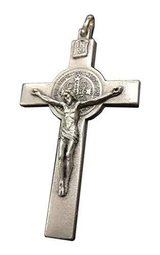 Eurofusioni Colgante Crucifijo San Benito - chapeada Plata - H 7 Cm