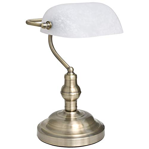 Tischleuchte Antique Bankerlampe Schreibtischleuchte, 1 x E27/60W (weiss)