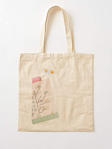 Nice Life Flower Reading Plant Love Book Growth Tote Cotton Very Bag | Canvas Grocery Bags Tote Bags with Handles Durable Cotton Shopping Bags