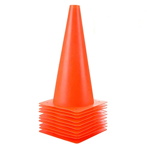 12 inch Plastic Training Soccer Cones, Safety Traffic Cones - 10 Pack of Sport Cones for Indoor/Outdoor Activity & Festive Events (Set of 10 Pack, Orange)