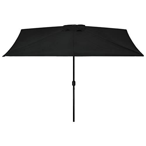 GOTOTOP Parasol Rectangular con Manivela 300 x 200 x 252 cm, Sombrilla Anti-UV con Poste de Acero 38mm para terraza, jardín, Playa, Piscina, Negro