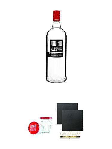 Partisan Vodka 40 Prozent 1,0 Liter + Partisan Sto Gramm Wodka Glas 10 cl mit Deckel 2 Stück + Schiefer Glasuntersetzer eckig ca. 9,5 cm Ø 2 Stück